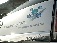 Compressed natural gas logo for automobiles.
