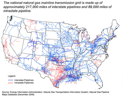 Picture of the US natural gas pipeline netrwork.